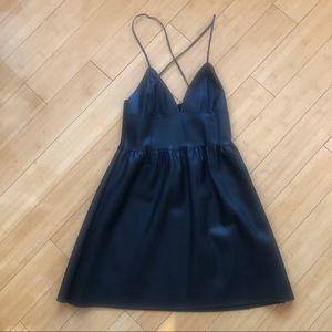 Zara Faux Leather V neck Dress Size S